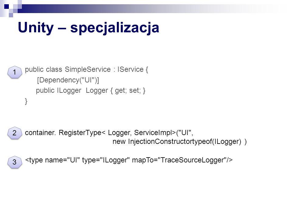 Unity – specjalizacja public class SimpleService : IService { [Dependency( UI )] public ILogger Logger { get; set; } }